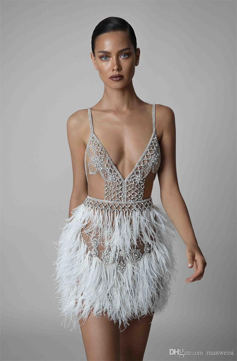 Berta 2019 Feather Cocktail Dresses Sexy Short Spaghetti V Neck Backless Beaded Prom Gowns Illusion Formal Evening Dress
