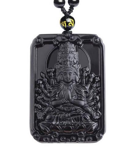 Chinese Hand-Carved Kwan-yin Grade A Natural Icy Obsidian Jade Gems Pendant