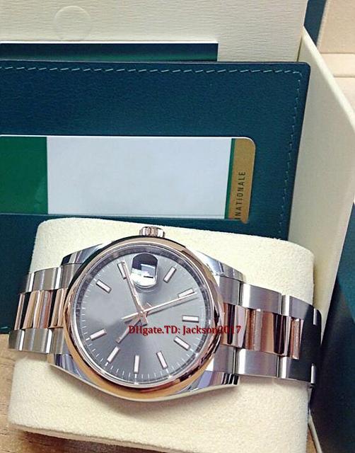 Original box certificate Mens watches 36mm 126201 Steel Rose Gold Rhodium Dial Asia 2813 movement