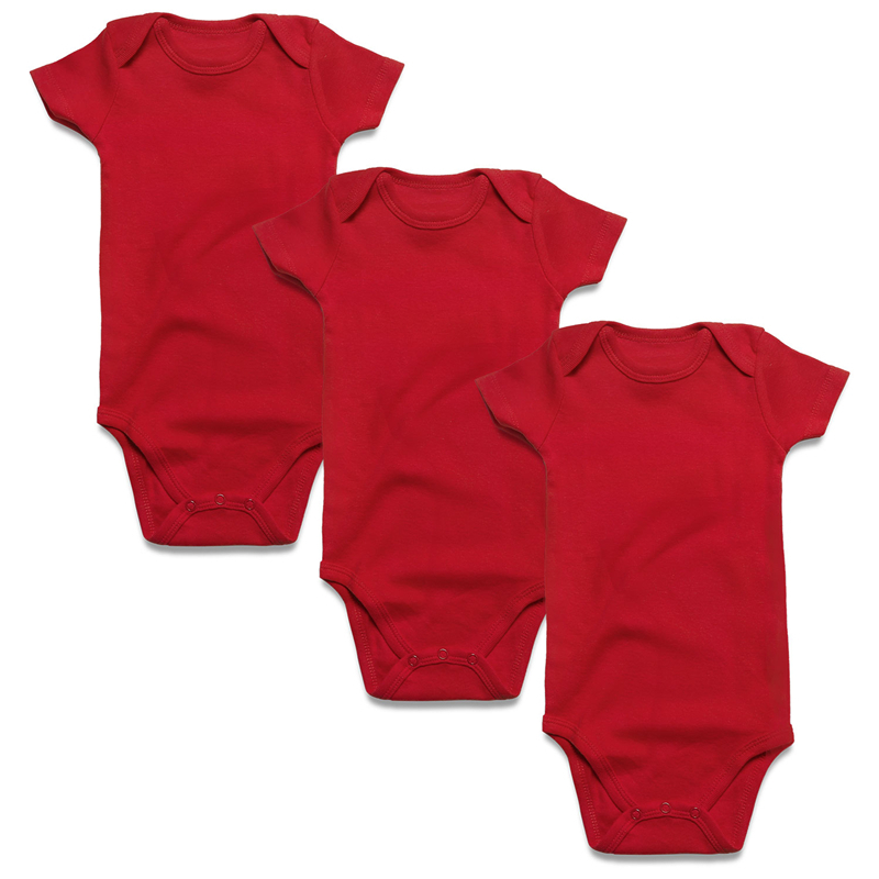 3 pcs red baby bodysuit short sleeve