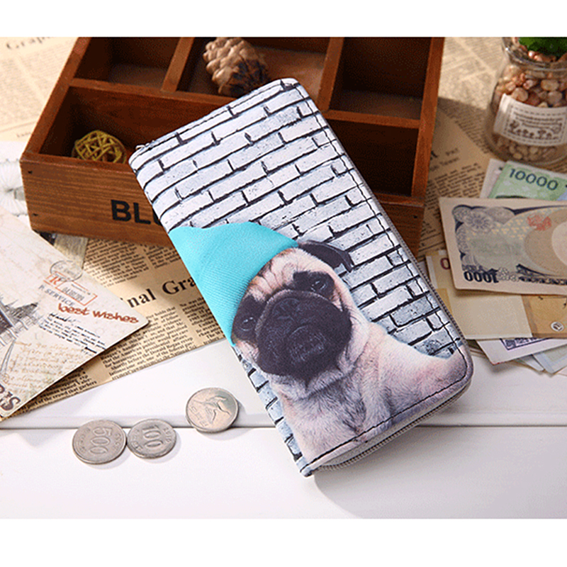 Cute Pug Bee Wallets For Men Women Long Leather Checkbook Card Holder Purse Zipper Buckle Elegant Clutch Ladies Coin Purse