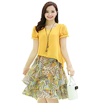 2019-flowers-Print-Dresses-large-size-women-s-fake-two-knee-longth-short-sleeved-chiffon-dress