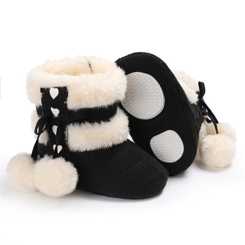 1 Pair Baby Girl Boots Baby Girl Bowknot Ball Soft Sole Snow Boots Soft Crib Shoes Toddler winter Boots bota infantil D10 (1)