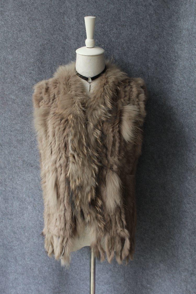 genuine real rabbit fur vest with raccoon fur collar (7)