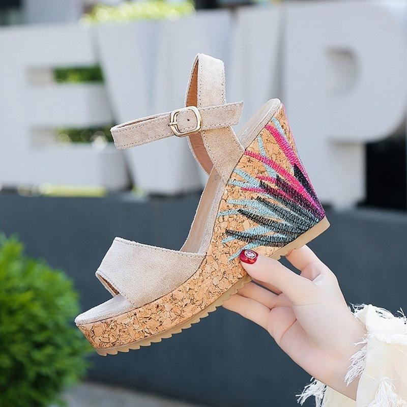 COOTELILI High Heels Women Summer Shoes Women Sandals Summer Shoes Women Open Toe Embroidery Beach Sandals 35-39 (1)