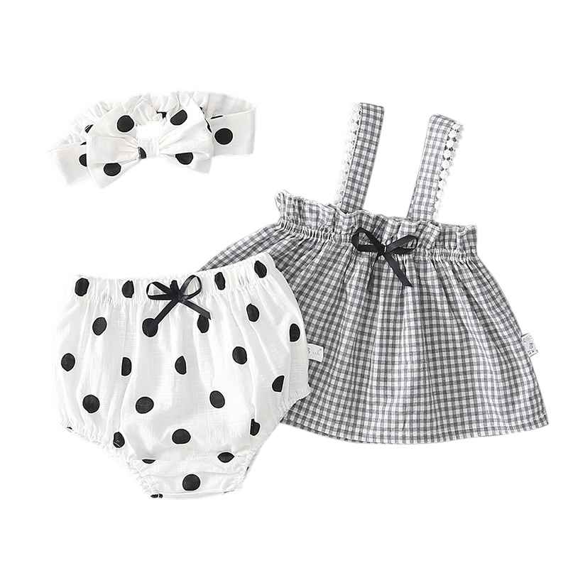 Cute Baby Girls Clothes Anchors Tops+Striped Briefs+Head Band 3pcs Outfits Set