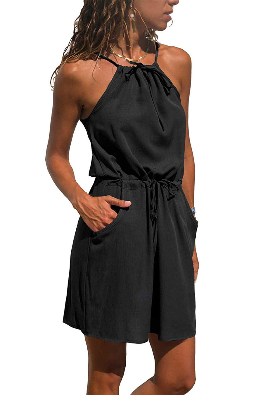 Gladiolus Chiffon Women Summer Dress Spaghetti Strap Floral Print Pocket Sexy Bohemian Beach Dress 2019 Short Ladies Dresses (42)
