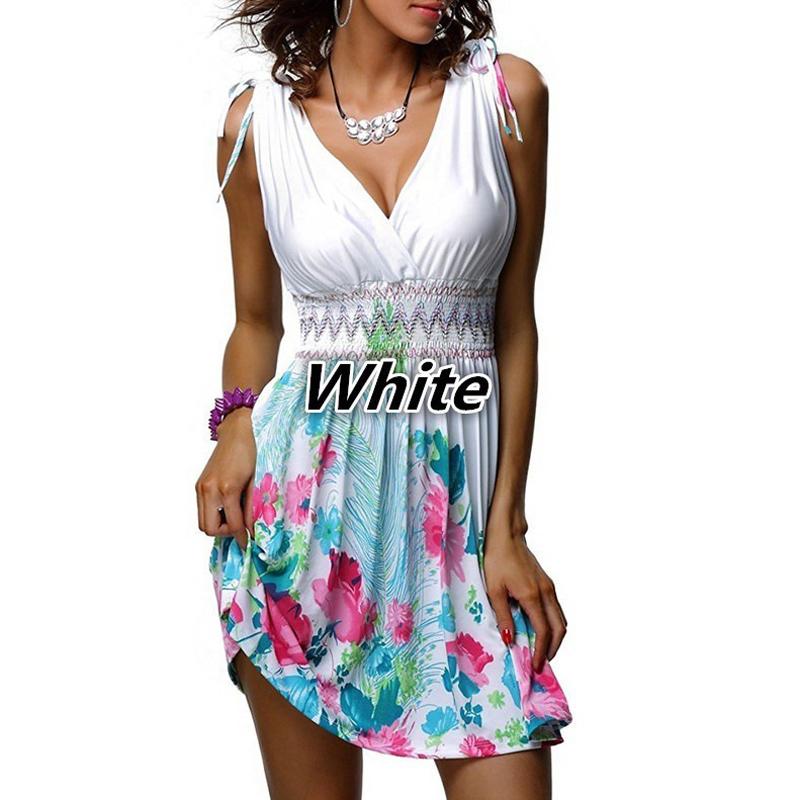 5xl Plus Size Femmes Bohemian Beach Robes Sexy Deep V Cou Sleeveless Dress Sweet Floral Print Slim Robe d'été blanc MX190727