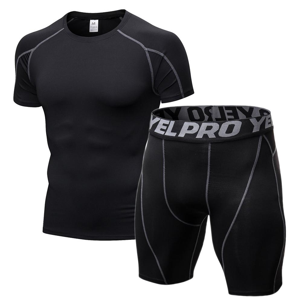 Compression Gym Enge Kleidung Männer Jogginganzüge Sport Sets Fitness Kleidung Schwarze Strumpfhose Laufen T Shirt Shorts Workout Wear Q190521