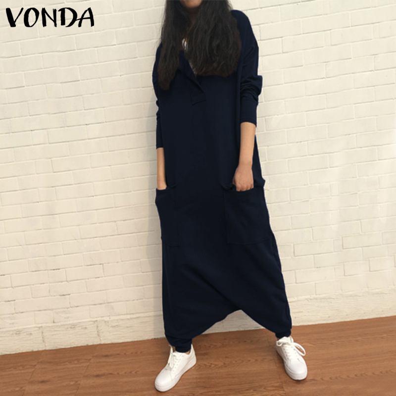 wholesale Rompers Womens Jumpsuit 2019 Autumn Casual Loose Harem Pants Plus Size Sexy Lapel Neck Long Sleeve Playsuits Overalls