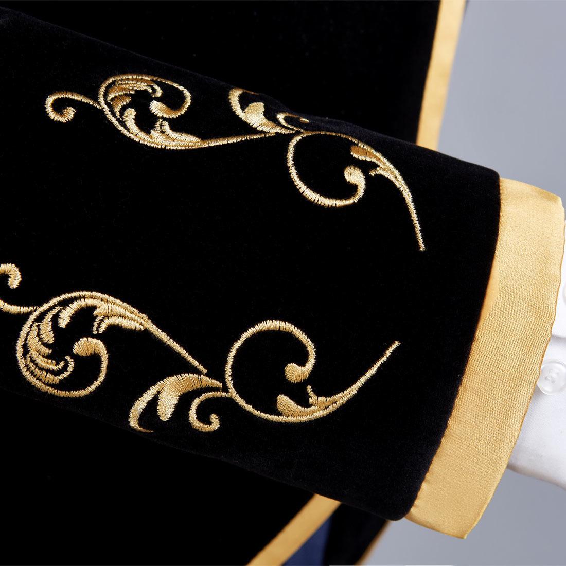 Pyjtrl British Style Palace Prince Fashion Black Velvet Gold Embroidery Blazer Wedding Groom Slim Fit Suit Jacket Singers Coat Q190427