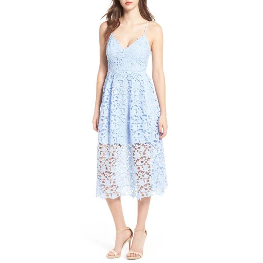 High Street Boho 2019 Blue&black Lace Dress Summe Women Elegant Fit And Flare Party Beach Dresses Q190409