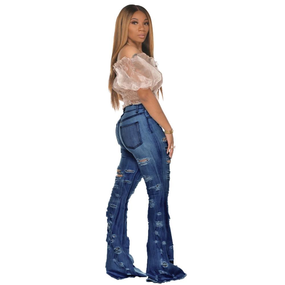 New Design fashion women Blue Color Jean Boot Cut Pants Casual Street Lady Long Denim Pants Sexy Club Wide Leg Jeans (3)