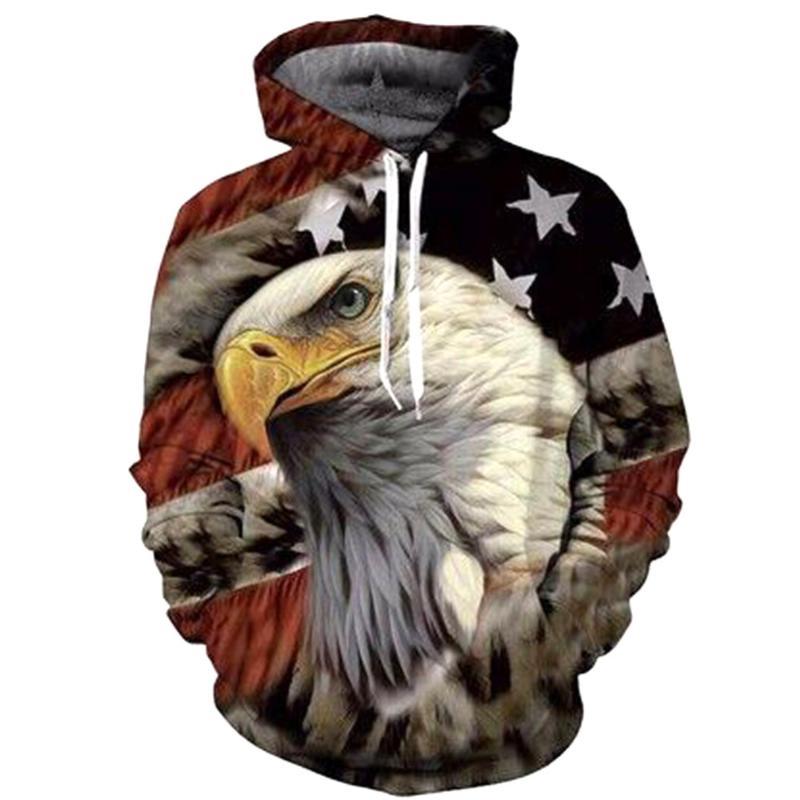 Men Sweatshirt Eagle Head American Flag Animals 3D Digital Printing Funny Hoodie Pullover with Pockets