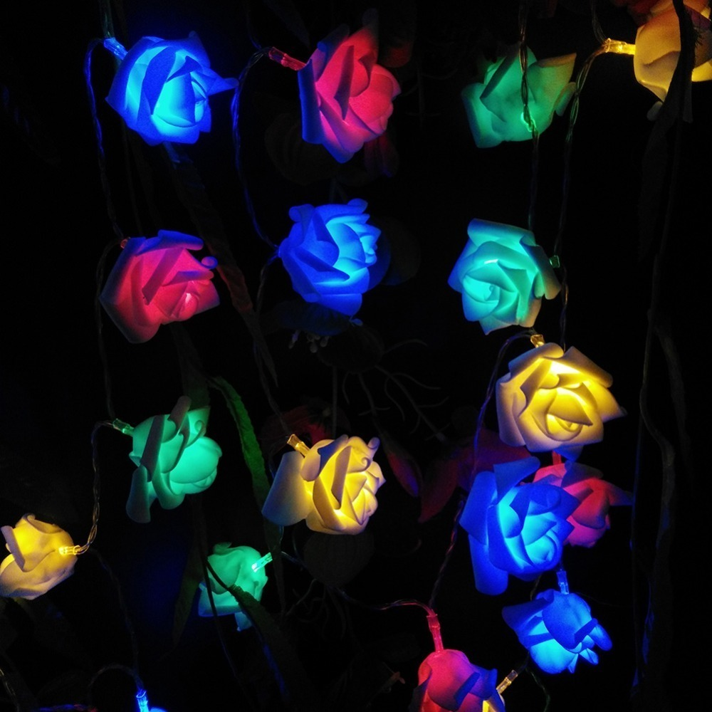 LED rose flower light;20pcs per string;with battery box(battery not included) (8)