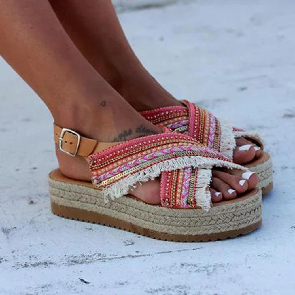Womens Straw Sandals Open Toe Ankle Tassel Beaded Roman Shoes Ethnic Style Thick-bottomed Muffin With Braided Beaded Back Sandal Y19070203