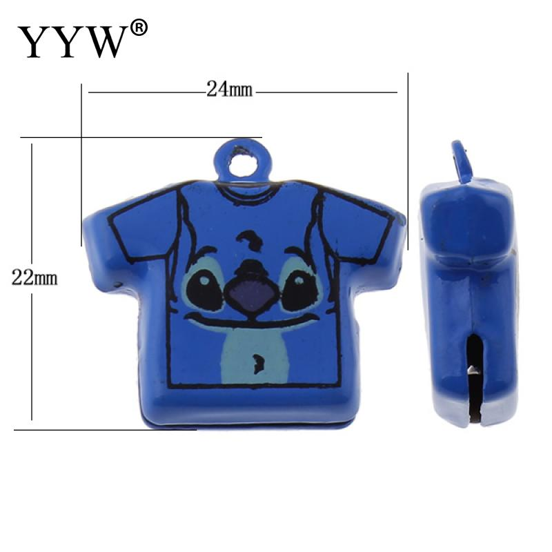 / sac en laiton pendentif bell vêtement peint bleu jingle bells 22x24x8mm décoration bébé cadeau pour bracelet charme diy pendentif