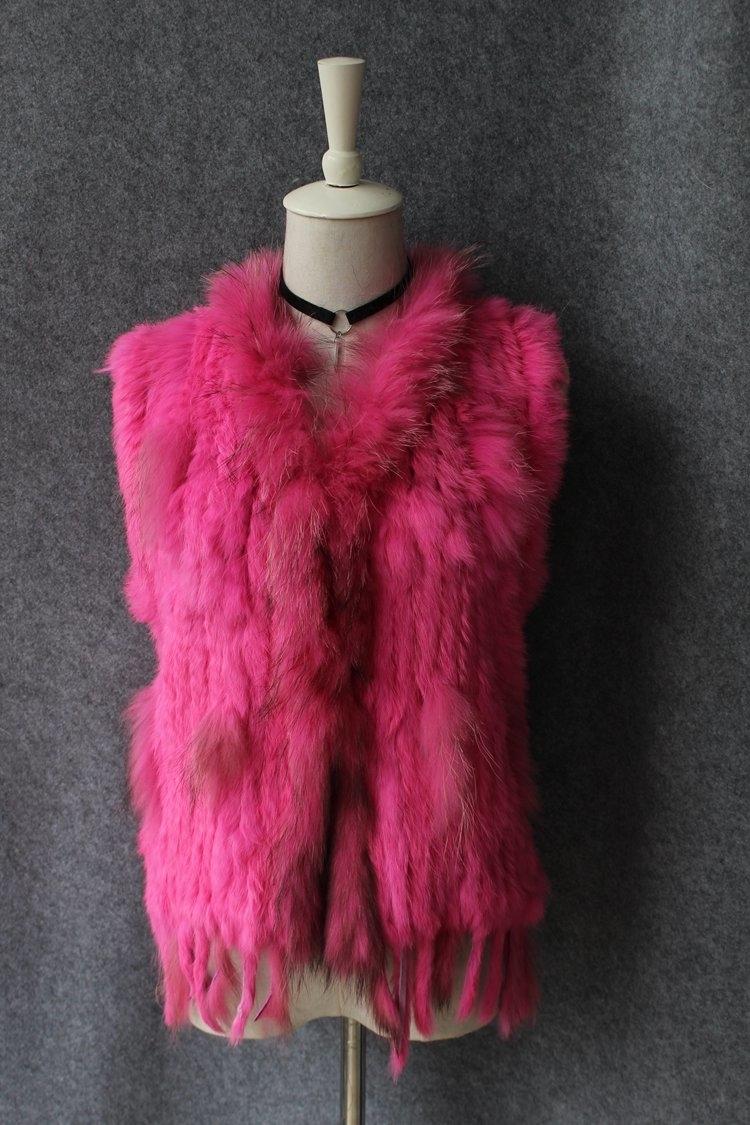 genuine real rabbit fur vest with raccoon fur collar (17)