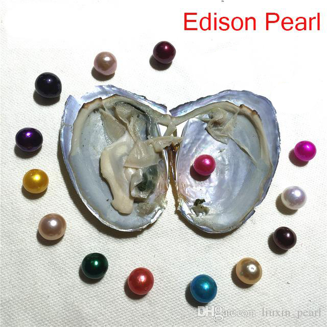 2020 Giant DIY Jewelry Single natural 9-12mm colored Near Round Edison Pearl Oysters with Vacuum-packed Natural Cultured Pearl