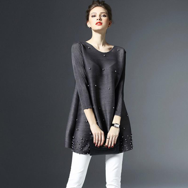 Pieghe speciali Primavera Estate Donna Mini abito pieghettato Pieghe semplici Larghi Grandi abiti solidi in rilievo Abiti neri T3190610