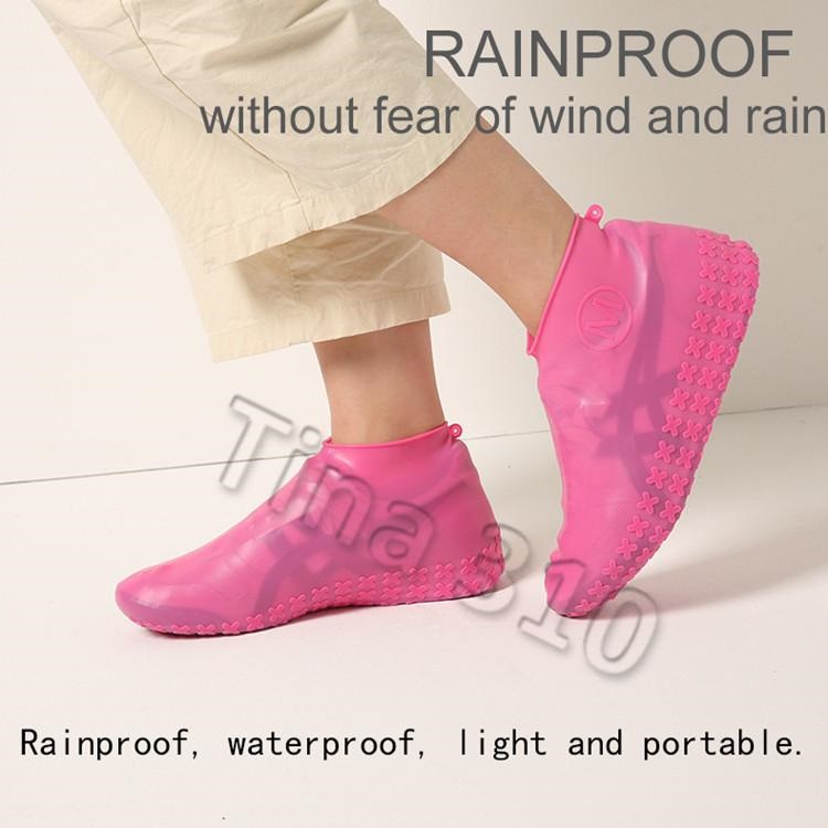 EB/_ Silicone Elastic Reusable Waterproof Shoe Cover for Walking Raining Hiking C