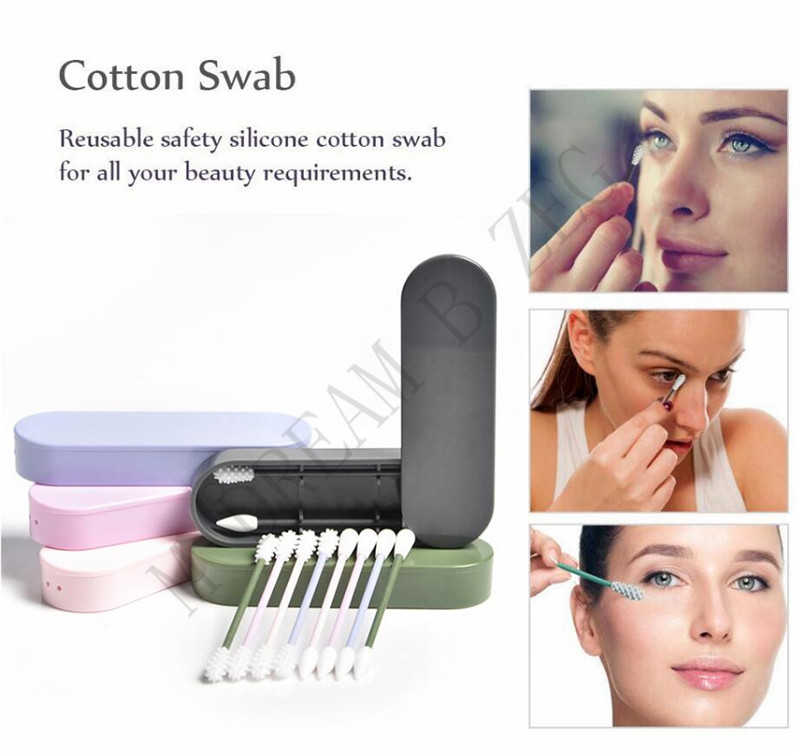 Portable Silicone Swab Nettoyable Pour Le Nettoyage Soins De Beaut/é Oreilles Maquillage R/éutilisables En Coton Avec /Étui Buds Anti-poussi/ère