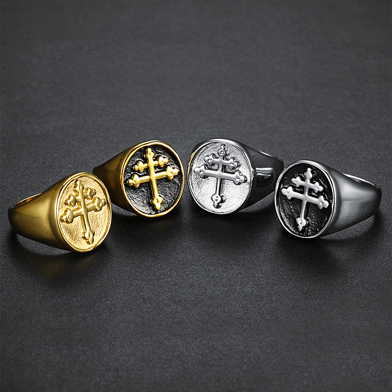 Lorraine Cross Ring Gold Silver Titanium Stainless Steel Crux Vera Cross of Lorraine Rings for Men Jewelry wholesale (6)