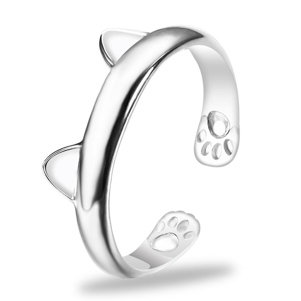 Cadeau Joli Bijoux Femme Fashion Dog Paw bague argent réglable Cat Claw forme