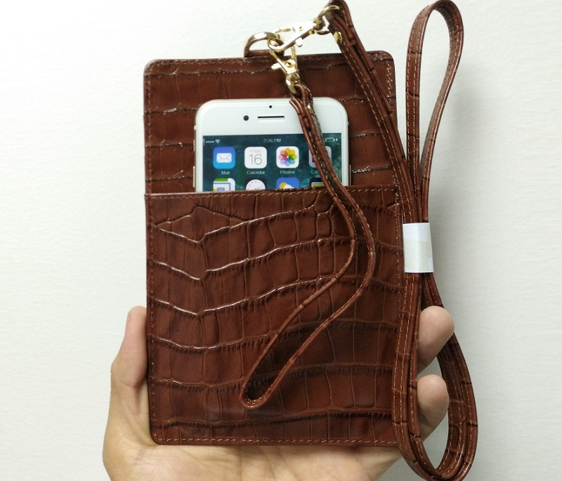 brown card holder leather strap pouch case for iPhone x xs max 7 8 plus