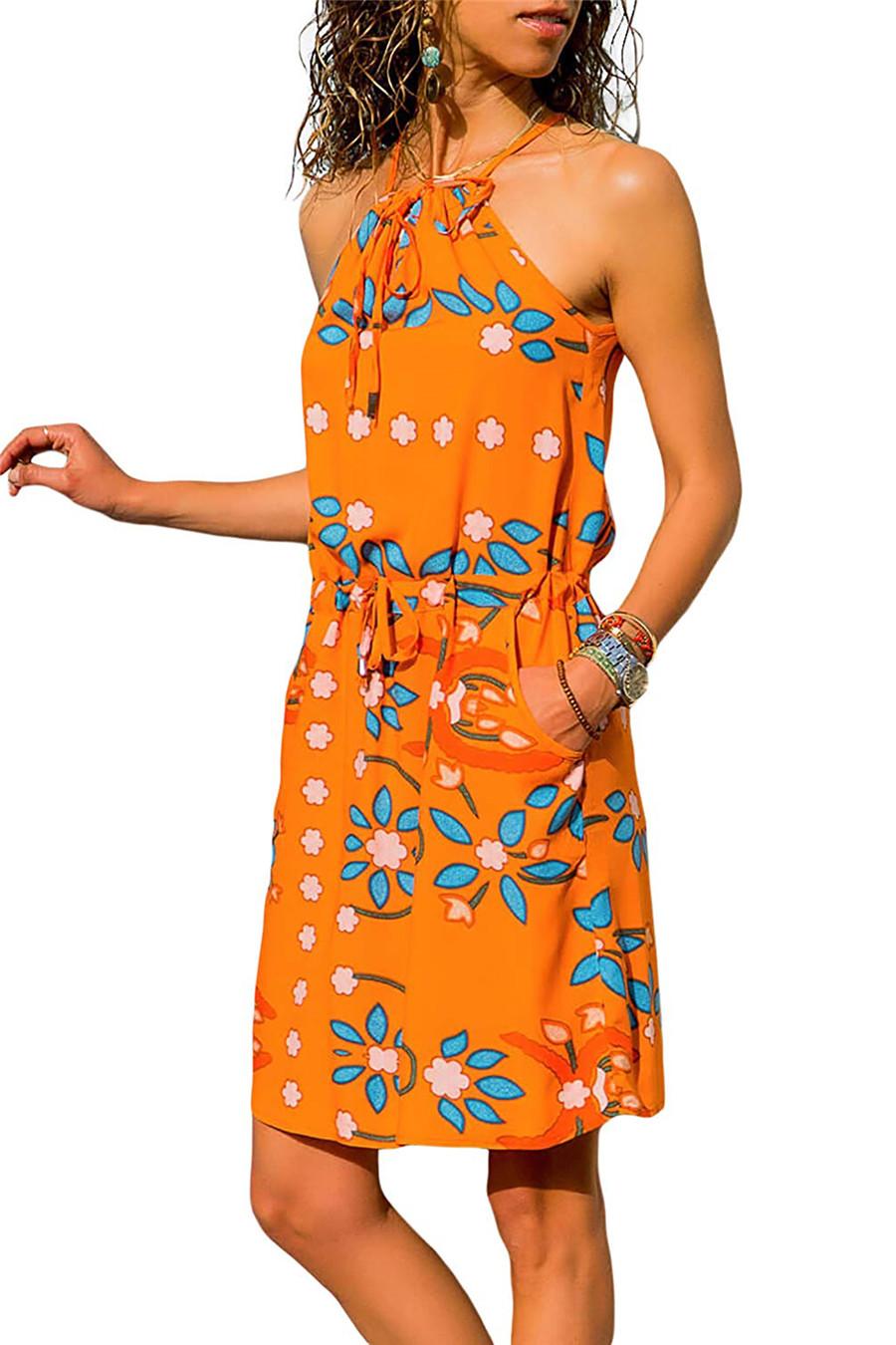 Gladiolus Chiffon Women Summer Dress Spaghetti Strap Floral Print Pocket Sexy Bohemian Beach Dress 2019 Short Ladies Dresses (38)
