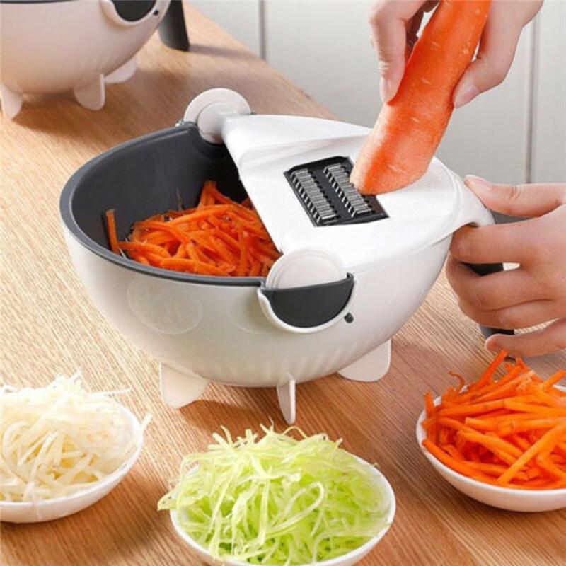 Magia Rodar Cortador de Vegetais com Cesta de Drenagem Multi-funcional Cozinha Vegetal Vegetal Shredder Ralador Slicer