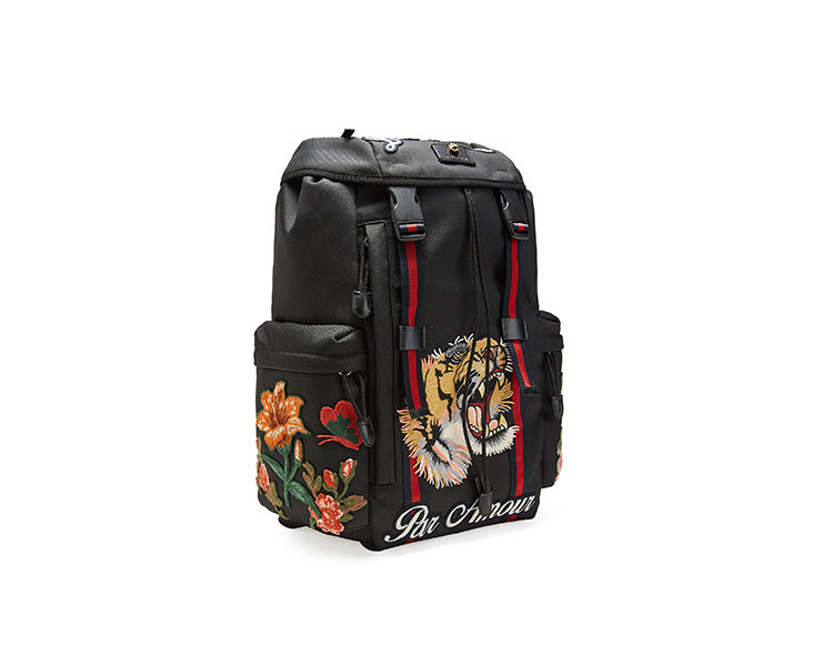 19 spring and summer new  /  men's black canvas embroidery decorative backpack 429037K1NAX8676
