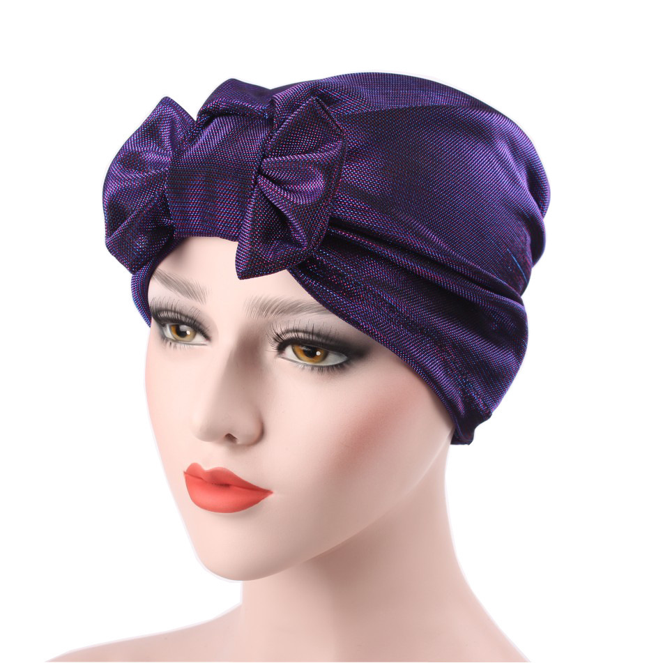 Solid Color Activity Bow Light Screen Printing The Degree Of Cap Muslim Scarf Hat Package Head Cap Best Sellers Goods In Stock