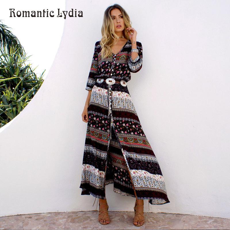 05d91ef027 Mujeres Vestido de Fiesta Largo Maxi Piso Longitud Casual Split Vestidos de  Verano 2018 Boho Vestidos de Bohemia Tallas grandes