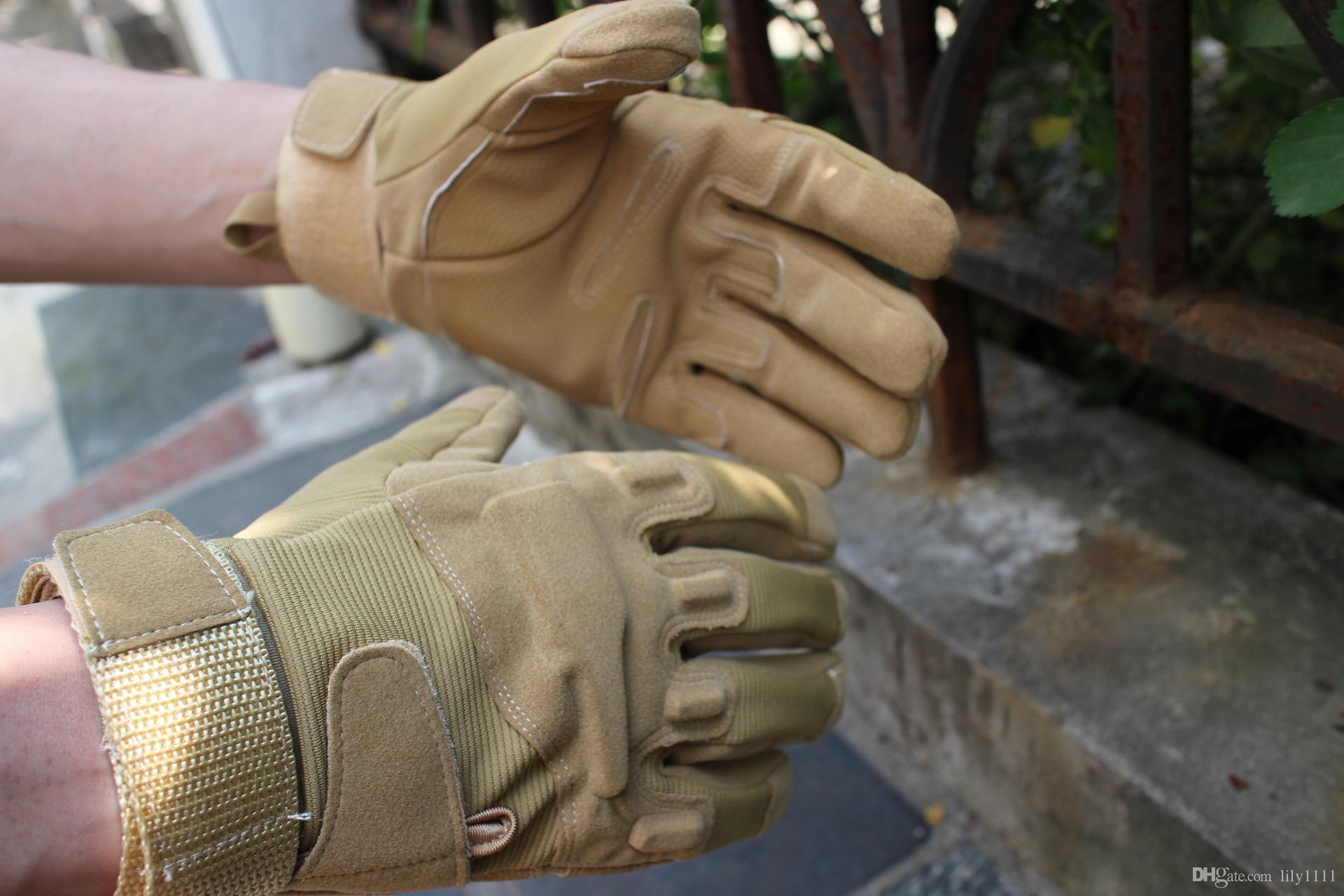 Shanghai Story Men's Army Gloves Man Full Finger Tactical Gloves Military Quick Dry Anti-Slippery Leather Combat Gloves