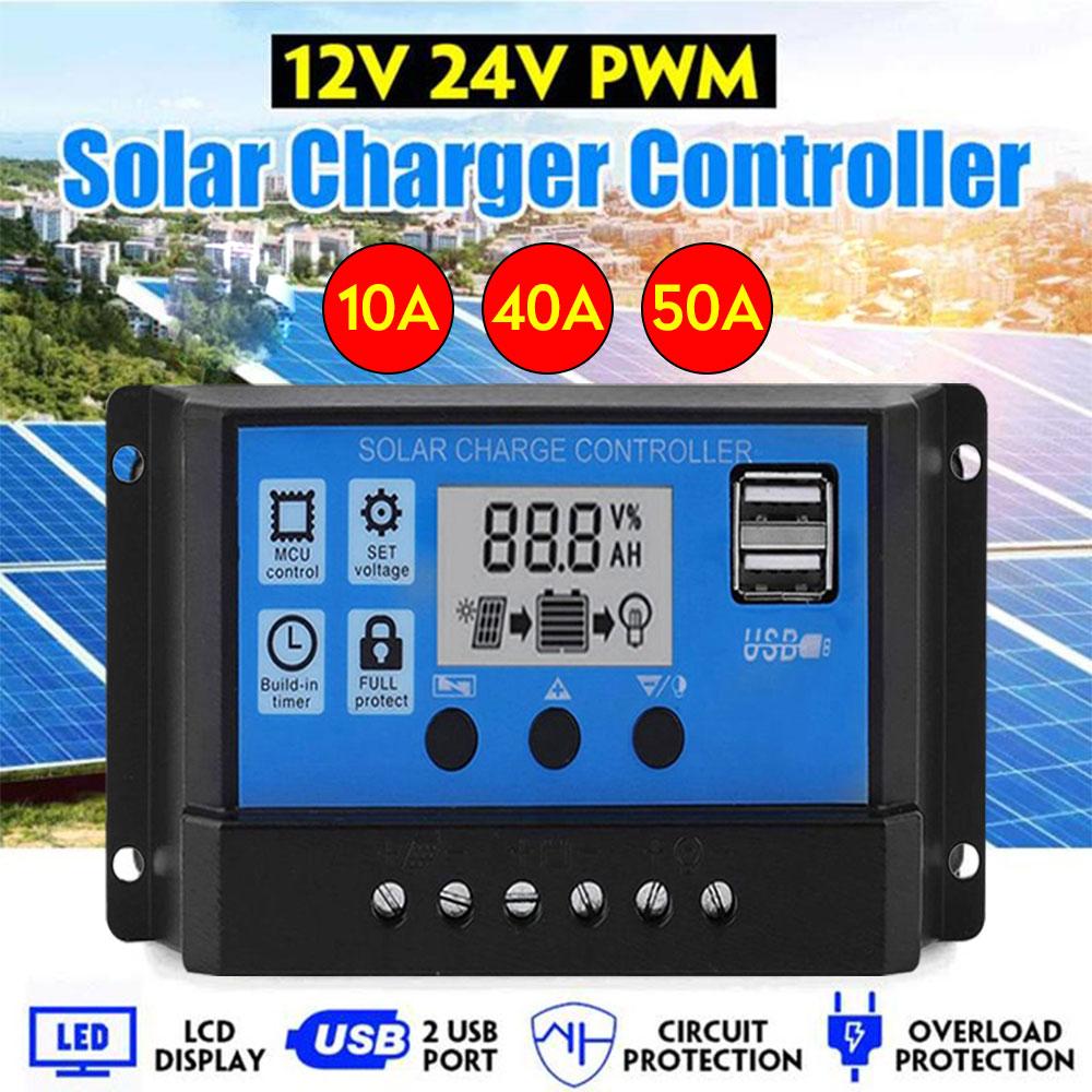Controlador Regulador de Carga Solar 10A 20A 30A Amperios 12 24V USB ES