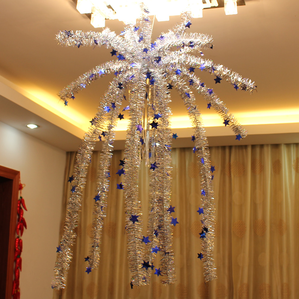 Indoor Christmas Hanging Garland Decorate Falling Flowers Furred Ceiling Nacelle With Star Snowy Christmas Tree Snowman Decorations The Best Christmas