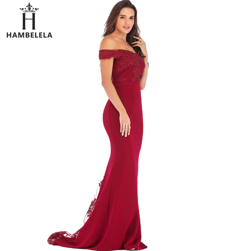 HAMBELELA Vestido De Festa Pink Black Red Mermaid Dress Lace Top Bodice Slim Long Formal Party Dress Charming Wedding Party Gown (16)