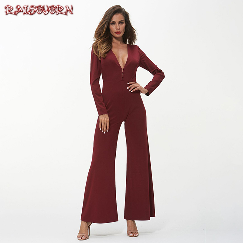 RAISEVERN Deep V-neck Women Sexy Jumpsuits Elegant Long Sleeves Wide Leg Rompers Red/black Autumn Office Ladies Fashion Clothing