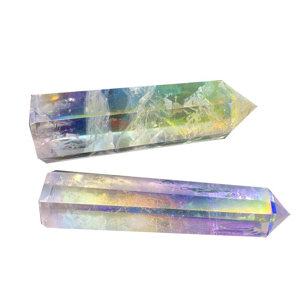 Natural Clear Crystal Quartz Electroplating rainbow Wand Point Healing Stones for Aquarium Crafts Making Ornaments Home Decor