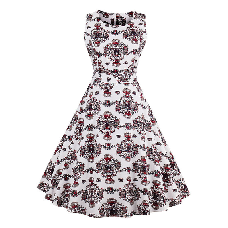 Kostlish 9 Style Print Summer Dress Women 2017 Sleeveless Swing 1950s Hepburn Vintage Tunic Dress Elegant Party Dresses Sundress (19)