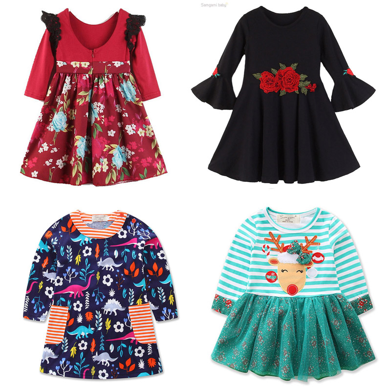 2017 Toddler Baby Girl Christmas Outfits Striped Elk Print Princess Tutu Party Dresses Clothes