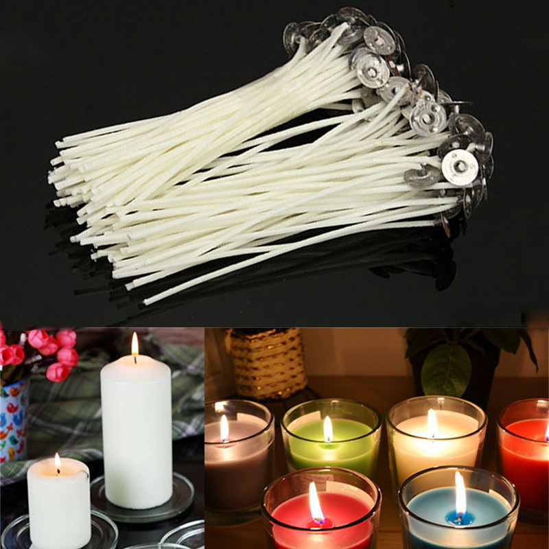 30pcs White Cotton Wick Core Candle Making for DIY Art Cotton Candles Pre-Waxed Wick Accessories Decoration Making Candles