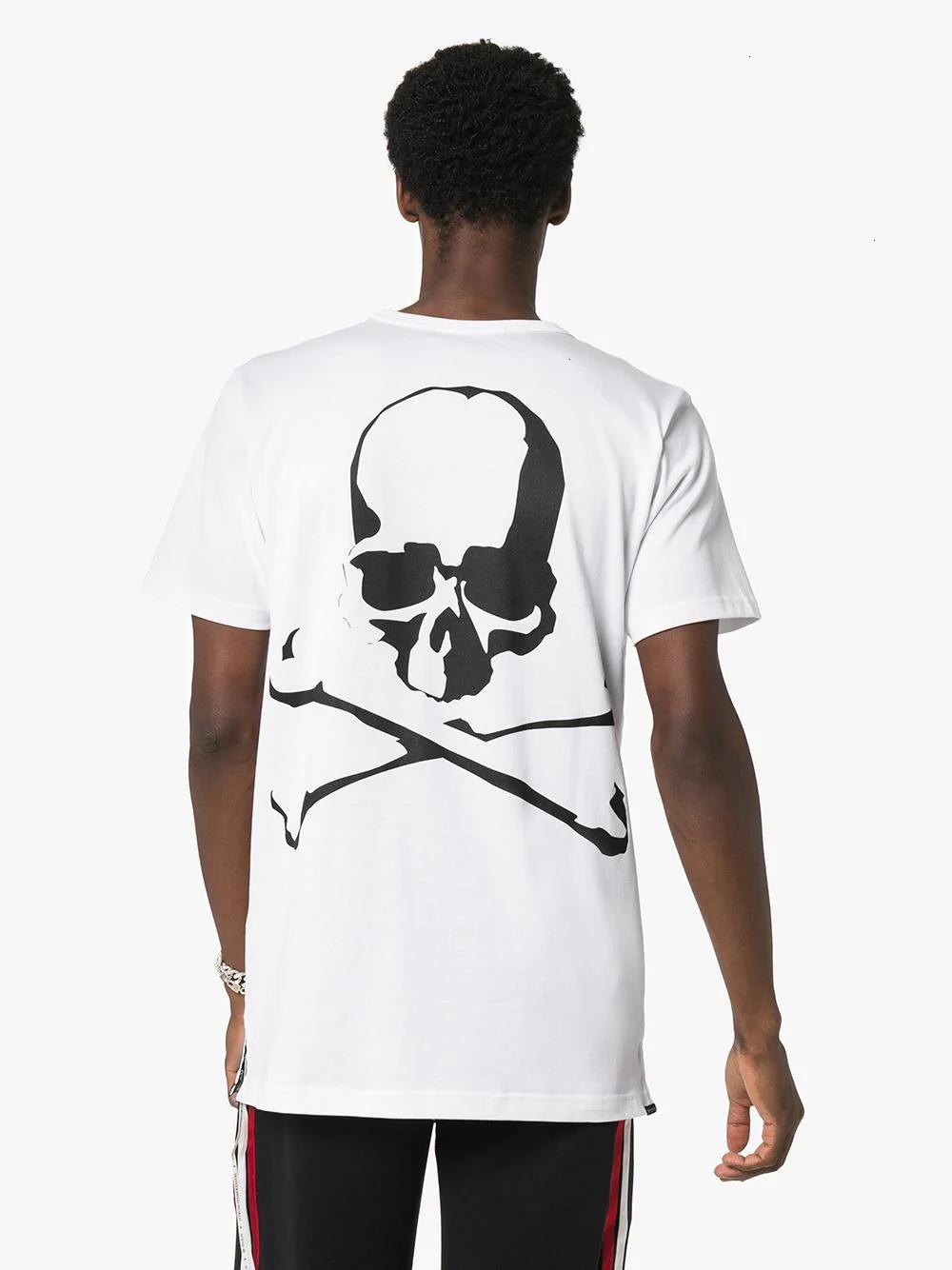 2020 Europea Mode Ronde Tide Collier d'impression de crâne Chemise en coton pour les hommes Vêtements pour hommes 11281