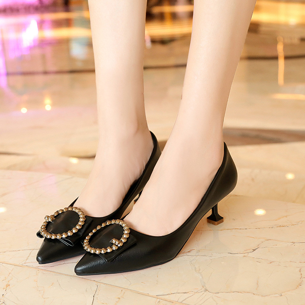 Dress Shoes New Sexy White Black Women Nude Formal Pumps Ladies Glossy Shallow Pointed Toe Sandals Ankle High Thin Heels