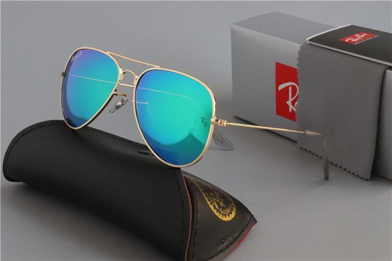 Brand Designer Occhiali da sole Rays Vintage Pilot Uomo Donna 54mm 62mm Bans Uv400 Justin Band Vetro specchio Ben classico con custodia