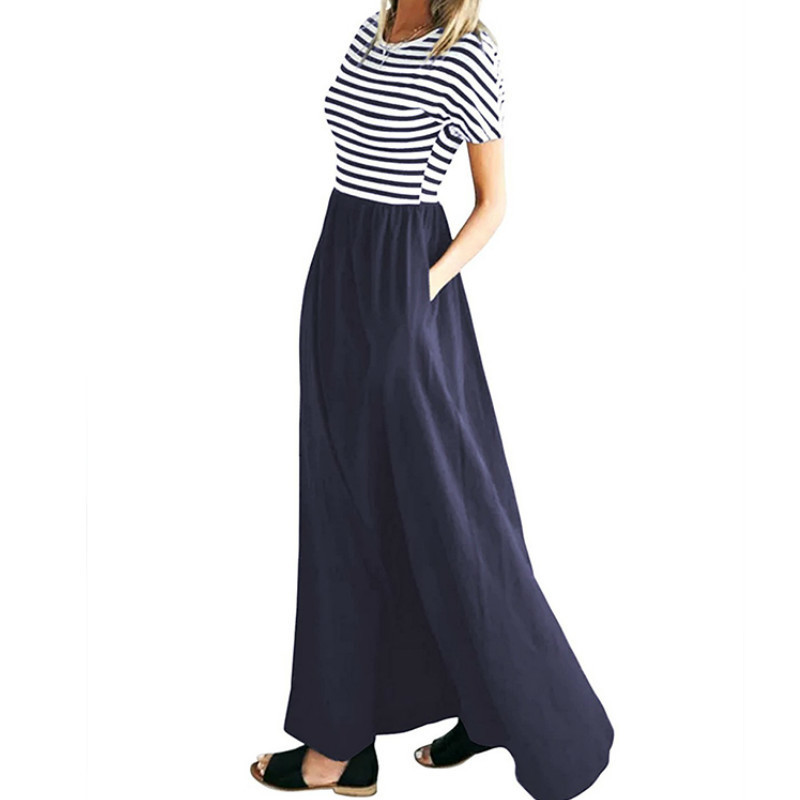 Women Long Dress Boho Summer Striped Maxi Dress Short Sleeve O-neck Plus Size Female Casual Dress Party Beach Pocket Sundress Y19051001