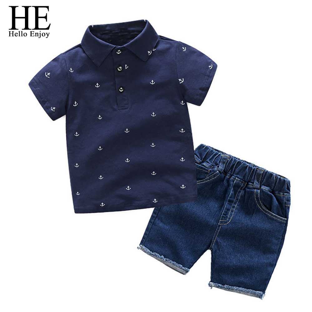 HE-Hello-Enjoy-Boy-Clothes-2018-Summer-Children-Clothing-Set-Print-Blouses-Shirt-Denim-Shorts-2