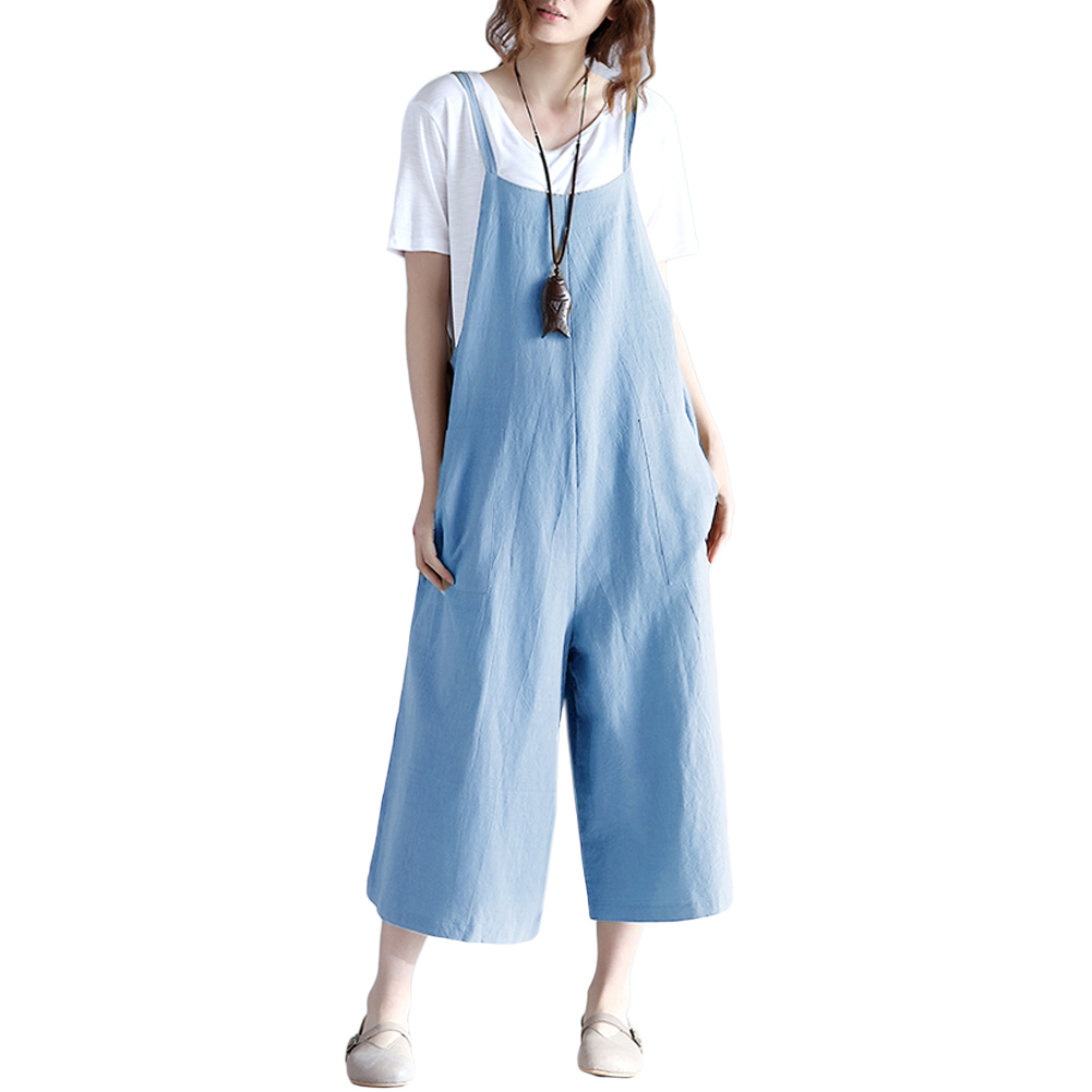 Women Loose Suspender Trousers Solid Color Casual Overalls Jumpsuit Female Wide Leg Long Pants Pockets Playsuit Autumn Rompers Y19060501