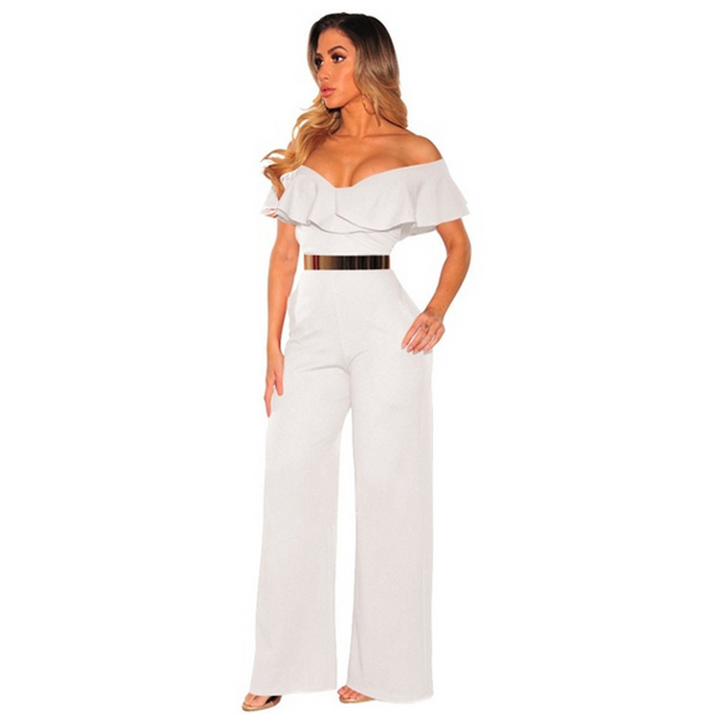 Women Fashion Off Shoulder Ruffles Long Sexy Backless Sleeve Bodycon Jumpsuit Women Overalls Jumpsuit Romper Women T3190605